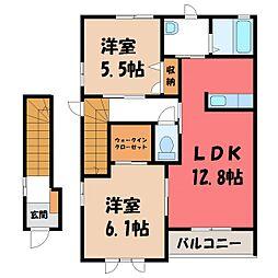 茨城県結城市新福寺3丁目の賃貸アパートの間取り