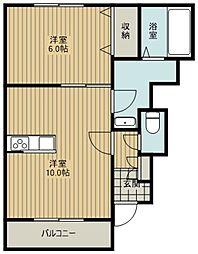 西武新宿線 花小金井駅 徒歩9分の賃貸アパート 1階1LDKの間取り
