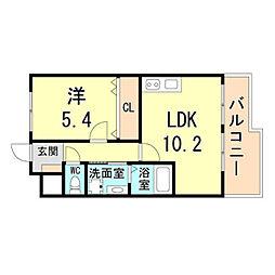 阪急神戸本線 園田駅 徒歩5分の賃貸アパート 2階1LDKの間取り