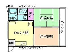 大阪府豊中市長興寺北3丁目の賃貸アパートの間取り