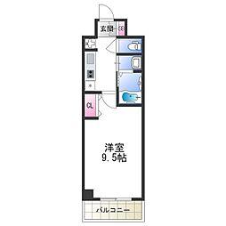 セブンレジデンス日本橋 2階1Kの間取り