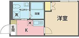 カインドネス所沢宮本町 A棟 1階1Kの間取り