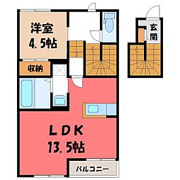 JR東北本線 宇都宮駅 バス27分 上石川十文字下車 徒歩6分の賃貸アパート 2階1LDKの間取り