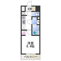 Osaka Metro千日前線 北巽駅 徒歩7分の賃貸マンション 6階1Kの間取り