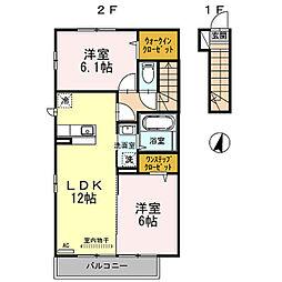 東京都羽村市羽中2丁目の賃貸アパートの間取り