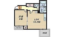 大阪府堺市堺区柳之町東2丁の賃貸アパートの間取り