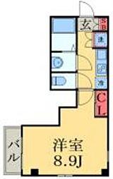 シンシア八番館 5階1Kの間取り