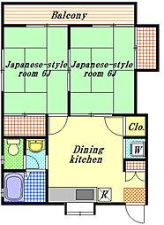 金子ハイツA[2階]の間取り