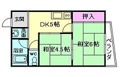 大阪府豊中市曽根南町3丁目の賃貸マンションの間取り