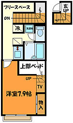 JR中央線 西八王子駅 バス12分 横川下車 徒歩9分の賃貸アパート 2階1Kの間取り