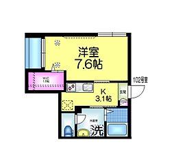 JR総武線 西千葉駅 徒歩10分の賃貸マンション 1階1Kの間取り