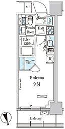 パークアクシス築地 4階ワンルームの間取り