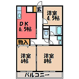 栃木県宇都宮市上大曽町の賃貸マンションの間取り