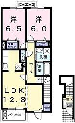 カ−サ・フロ−レス[1階]の間取り