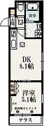京王井の頭線 西永福駅 徒歩3分の賃貸マンション 1階1DKの間取り