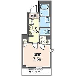 クオレール 2階1Kの間取り
