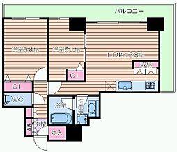 カスタリアタワー長堀橋[3階]の間取り