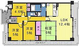 大阪府堺市東区中茶屋の賃貸マンションの間取り