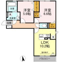 名古屋市営東山線 中村公園駅 バス17分 市バス「西条」停下車 徒歩15分の賃貸アパート 2階2LDKの間取り