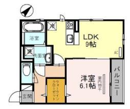 JR東海道・山陽本線 草津駅 徒歩24分の賃貸アパート 3階1LDKの間取り