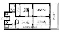 阪急京都本線 上新庄駅 徒歩18分の賃貸マンション 4階3DKの間取り