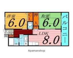 Osaka Metro長堀鶴見緑地線 門真南駅 徒歩6分の賃貸マンション 3階2DKの間取り