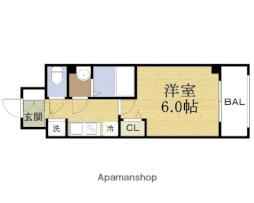 スワンズシティ大阪城ノース 4階1Kの間取り