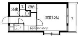 鹿児島市電1系統 鴨池駅 徒歩3分の賃貸マンション 4階1Kの間取り