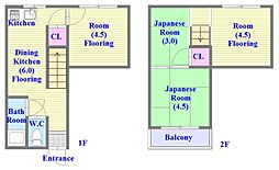 [一戸建] 兵庫県神戸市垂水区千代が丘1丁目 の賃貸【兵庫県 / 神戸市垂水区】の間取り