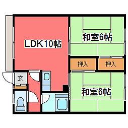 長浦ハイツB[2階]の間取り