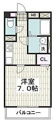 江ノ島電鉄 藤沢駅 徒歩8分の賃貸マンション 3階1Kの間取り