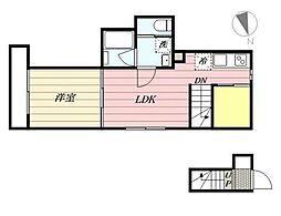 東急田園都市線 桜新町駅 徒歩10分の賃貸アパート 1階1LDKの間取り