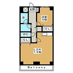 ヒルズ M1[6階]の間取り