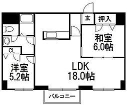 KKSオーシャンビュー[402号室]の間取り