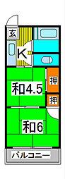 新藤コーポ[2階]の間取り