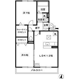 埼玉県さいたま市中央区本町東4丁目の賃貸アパートの間取り