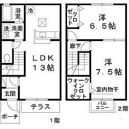 レストヴィラージュ A棟[1階]の間取り