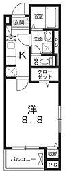 JR中央線 八王子駅 徒歩20分の賃貸マンション 5階1Kの間取り