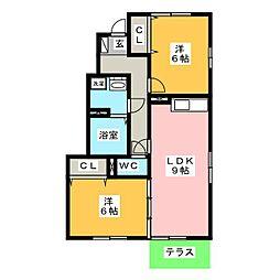 エミネンスB[1階]の間取り