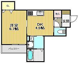 D-room甲子園[101号室]の間取り