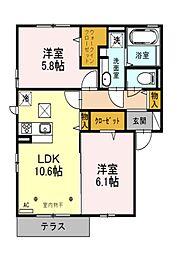 埼玉県所沢市東所沢和田1丁目の賃貸アパートの間取り