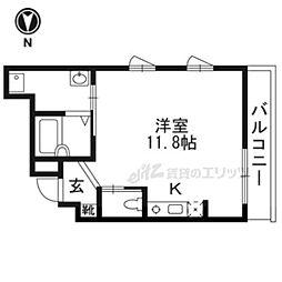 京阪本線 七条駅 徒歩6分の賃貸アパート 2階ワンルームの間取り