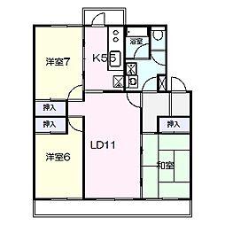千葉県鎌ケ谷市東中沢2丁目の賃貸マンションの間取り