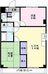 千葉県松戸市殿平賀の賃貸マンションの間取り