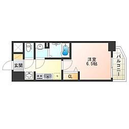 JR阪和線 美章園駅 徒歩5分の賃貸マンション 7階1Kの間取り