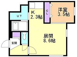SENNA MOTOMACHI 2階1LDKの間取り