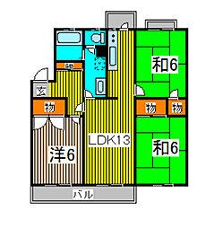 緑島マンションB棟[2階]の間取り