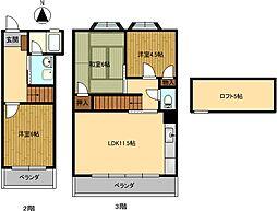 コートハウス2CV[205号室]の間取り