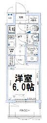 グランカリテ大阪城イースト 6階1Kの間取り