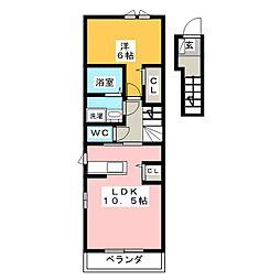 静岡県焼津市下小田の賃貸アパートの間取り